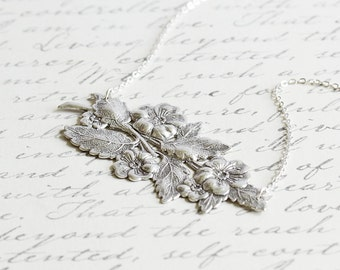 Wild Rose Necklace - Antiqued Silver Plated Flower Necklace, Silver Vine Necklace, Large Pendant Necklace, Nature Jewelry, Floral Jewelry