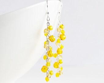 Yellow Dangle Earrings, Yellow Bead Earrings, Silver Plated Hooks, Cluster Earrings, Long Yellow Earrings, Sunflower Yellow, Fashion Jewelry