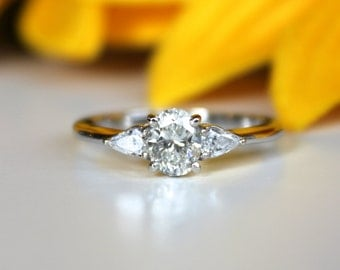 Oval Diamond 3 stone Engagement ring, 14K White gold, pear shaped accent side diamonds