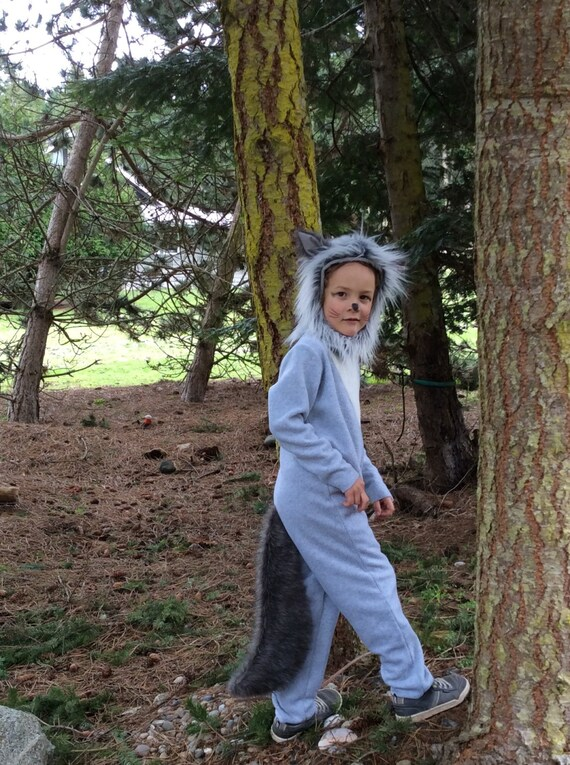 kids halloween costume grey wolf