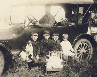 Children Sitting On Car RUNNING BOARD with Family DOG Photo Postcard circa 1910s