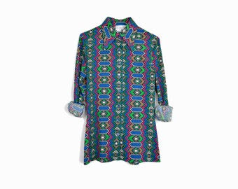 Vintage 70s Geometric Disco Shirt / 70s Party Shirt - women's small