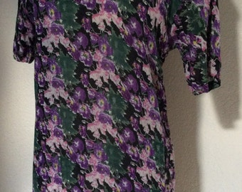 Vintage 90's Dropwaist Floral Print Purple, Pink & Green Dress with Buttons Down Back - Small / Medium