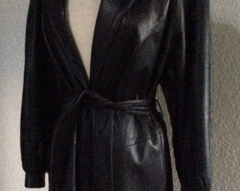 Vintage Black Leather Trench Coat / Trench Coat - Womens Long Leather Jacket