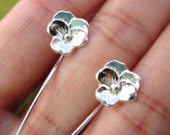 Violet Pansy flower earrings sterling silver earrings jewelry dangle earrings cute small stud earrings long stem earrings Threader E-129