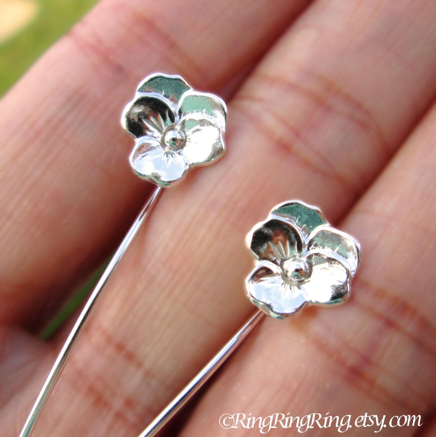 violet pansy flower earrings sterling silver earrings jewelry. Black Bedroom Furniture Sets. Home Design Ideas