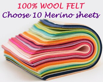100% Merino Wool Felt - 10 sheets -You Pick the Colours