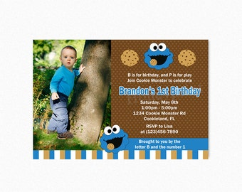 Cookie Monster Birthday Party Invitation, Cookie Monster Invitation, 1st Birthday, Personalized, Printable or Printed