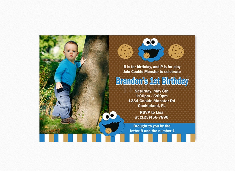 cookie monster birthday party invitation cookie monster, Birthday invitations