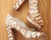 Vintage 90's Tan, Lightbrown, and Fawn Snakeskin Peep Toe Platform Heels by Miu Miu, size 35 1/2