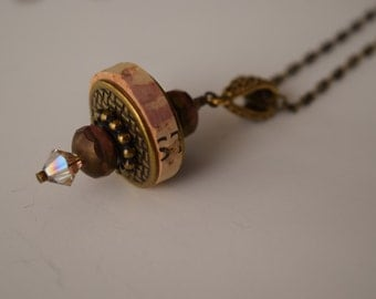 Wine Cork Pendand Necklace with Antique Bronze Accents and Merlot Toned Beads--Recycled Cork