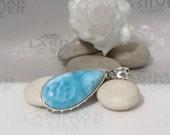 Larimar pendant, Turquoise Storm - sea blue Larimar pear, turquoise blue, volcanic blue, dolphin stone, cerulean, sky blue, handmade pendant