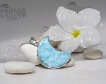 Larimar moon by Larimarandsilver, Snow in the Moon - pastel blue Larimar moon, aqua, blue moon, marbled, topaz blue handmade Larimar pendant