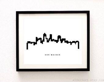 Des Moines Skyline Print - Des Moines Cityscape Print - Des Moines Art Print - Des Moines Wall Art - Aldari Art