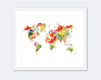 World Map Print - Map Wall Art - Floral Map Print - Nursery Decor - Dorm Decor - Office Decor - 8x10 on 8.5x11 - Frame Not Included