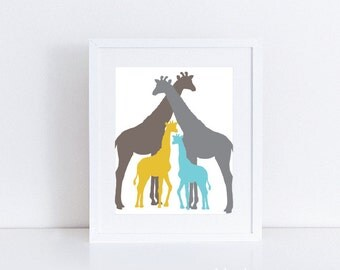 Giraffe Art Print / Giraffe Wall Art / Giraffe Family Print / Giraffe Nursery Wall Art / Choose Your Colors / Aldari Art