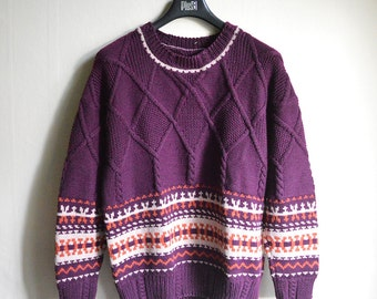 SALE - Boyfriend Sweater Purple Ornamented Large Wool jumper Pure wool handmade vintage Sweater size L XL