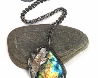 Labradorite and Sterling Silver Necklace with Oak Leaf and Bear - The Lovely Woods