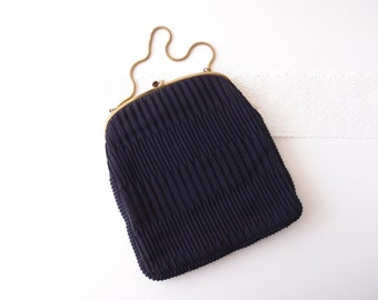 1950s Ingber Bag / Navy Blue Origami Pleated Kiss-Lock bag with gold snake chain handle