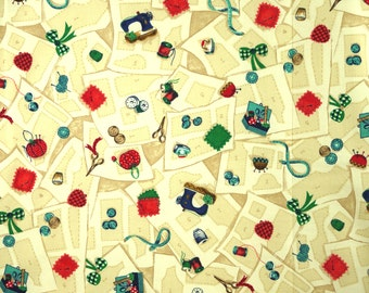 Tan Red Blue, Sewing Notions Print, Quilting Cotton, Classic, Overall Design, half yard, B6