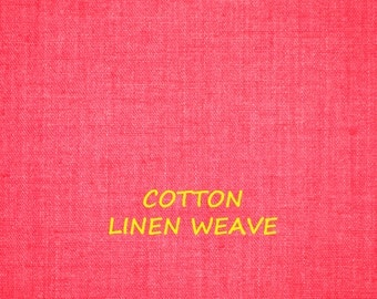 Red Pink, Linen Weave Cotton, Craft or Fashion Fabric, Medium Weight, 37 x 25, B23