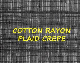 Black Gray Plaid Crepe, Fashion Fabric, Medium Weight, Cotton Rayon, half yard, B30