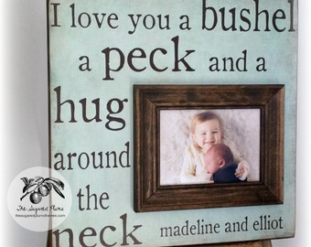 Bushel and a Peck, Sibling Gift, Brother Gift, Sister Gift, New Baby Gift, Personalized Baby Gift, Picture Frame, Rustic Nursery Decor 16x16
