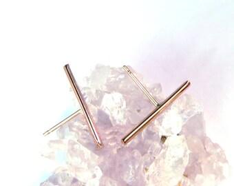 Rose gold Stud, Line Stud, Line ear post, Rose Gold post, Rose Gold Ear climber, ear climber, line earrings, gold line stud, gold ear pin