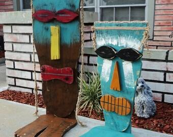Large Tiki Mask With Feet, Table Top Tiki, Wood Sculpture, Tiki Man, Rustic Beach House, Tiki Bar