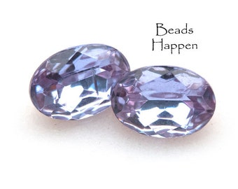 MAGICAL Color Changing 16x11mm Vintage Alexandrite Glass Ovals, Light Amethyst, Light Blue, Czechoslovakia Glass Oval Cab, H1-R1-C5, Qty 2