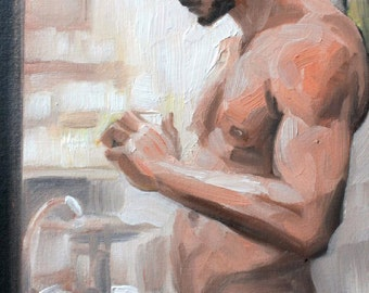 Wicked Half Naked Bathroom Bear, oil on canvas panel 11x14 inches Kenney Mencher