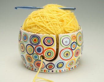 Circles and Spots Yarn Bowl for Knitting and Crochet - Hand Painted