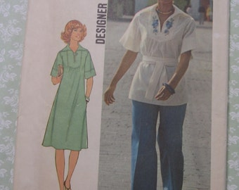 Misses Pullover Dress or Top and Pants Size 14 Bust 36 Waist 28 Vintage 1970s UNCUT Simplicity Pattern 7430