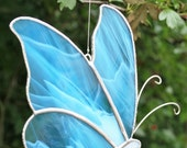 Stained Glass Butterfly Suncatcher, blue glass butterfly, window decor, I love you Mom, Made in Ireland