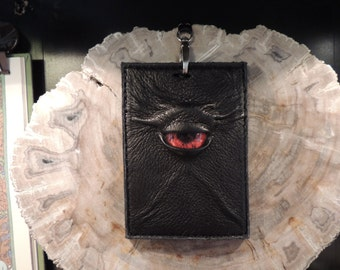 Convention Badge Holder: Black Leather and Red Eye