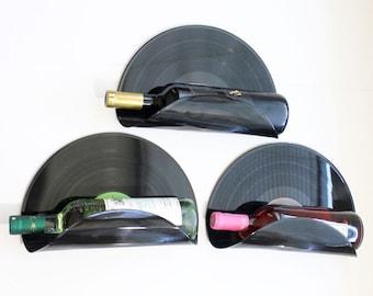 Bachelor Pad Upcycled Vinyl Record Wine Rack Wall Organizer - Set of 3