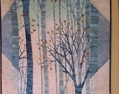 Art Quilt, Forest  Wall Hanging in Blues and Creams, Heirloom Wall Quilt, Tree Quilt, Hostess Gift, Handmade Quilt