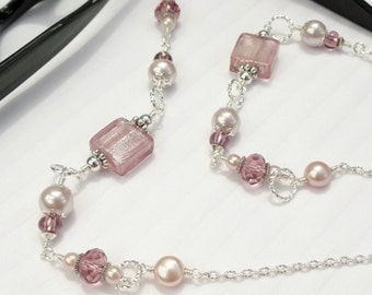 Glasses Chain Silver Dusty Rose Pearl and Crystal, Eyeglass Holder Beaded Eyeglass Necklace, Pink Eyeglass Chain, Reading Glasses Chain