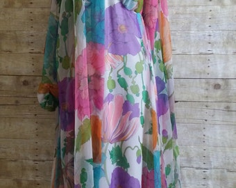 Jack Bryan 60s floral gown and over dress stunning chiffon dress Dick Du Puis bridal flowing ethereal pucci like romantic boho wedding