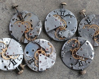 Vintage watch movements -- set of 6 -- D14
