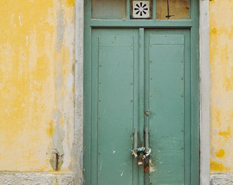 Green Door Print,Tropical Colors,Travel Photo,Lisbon Photos,Door Print,Yellow Wall,European Photography,Romantic Travel Photo