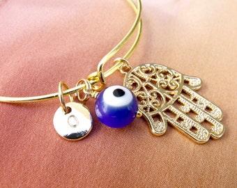Evil Eye Bracelet, Hamsa Evil Eye Bracelet, Protection Bracelet