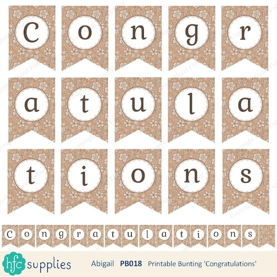 congratulations printable bunting hand drawn flower pattern