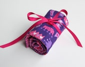Pink and Purple Crayon Roll Up for Girls - Velcro OR Ribbon Closure (Your Choice) - Crayon Wrap - Princess Queen Crowns - Little Girl Gift