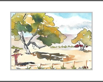 Watercolor Landscape Tree Painting Watercolor & Ink Blue Sky Clouds Fall Colors SFA