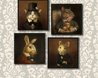 Animal Portrait Coasters - Victorian Animal Coaster Set - Cat - Mouse - Squirrel - Rabbit - Fox