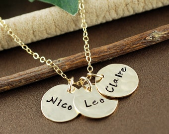 Gold Name Necklace, Mommy Necklace, Personalized Gold Name Necklace, Hand Stamped Mommy Necklace, Three Charms Necklace, Name Jewelry