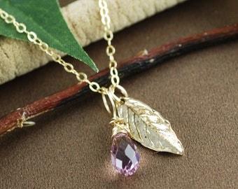 Gold Leaf Necklace, Bridesmaid Leaf Jewelry, Fall Wedding Jewelry, Birthstone Necklace, Dainty Leaf Necklace, Bridesmaid Necklace