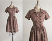 50's Day Dress // Vintage 1950's Brown Plaid Full Casual Shirtwaist Dress M