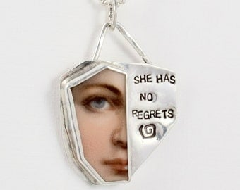 Rayne Has No Regrets - Sterling Silver And Ceramic Jewelry Pendant - Message Empowerment Art Jewelry - Robin Wade Art Jewelry Pendant - 2209